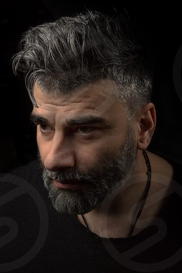 beardmenguyportraitgrey hairmoustachelow key portrait photo