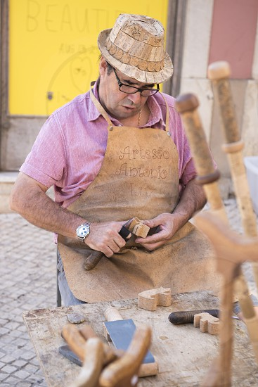 Cork art at the Saturday Market in the town of Loule in the Algarve in the south of Portugal in Europe. photo