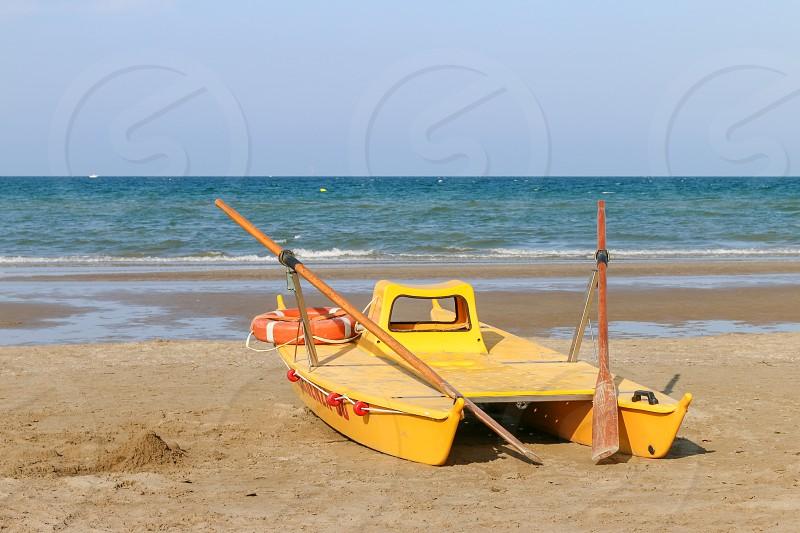 Lifeboat at the beach Italy Riccione photo