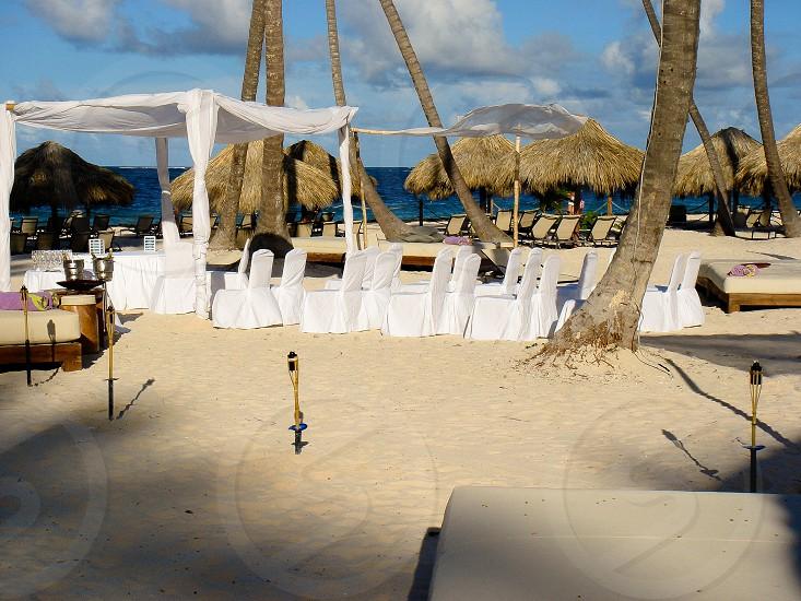 Wedding ceremony setup on the beach photo
