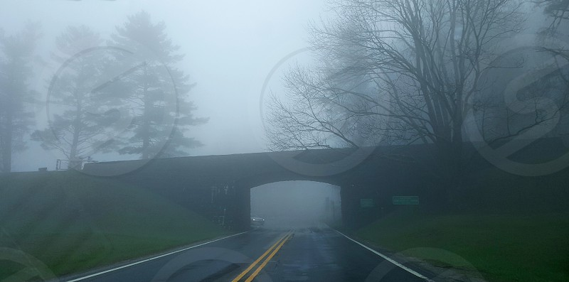 Blue Ridge Parkway. Driving through the fog. photo