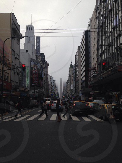 Foggy morning in Av. Corrientes with Obelisco in the background. Buenos Aires july 2014.  photo