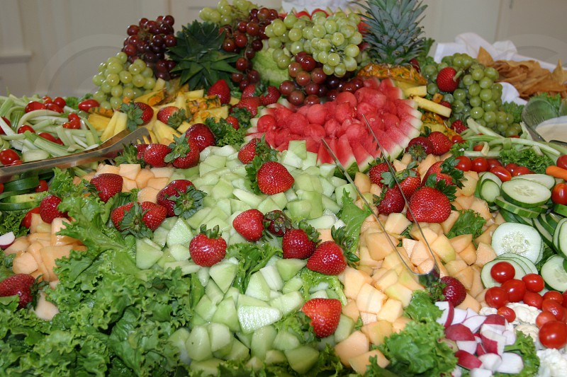 sliced fruits and vegetables display photo