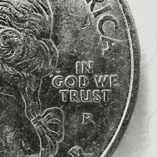 In God we trust quarter money macro   photo