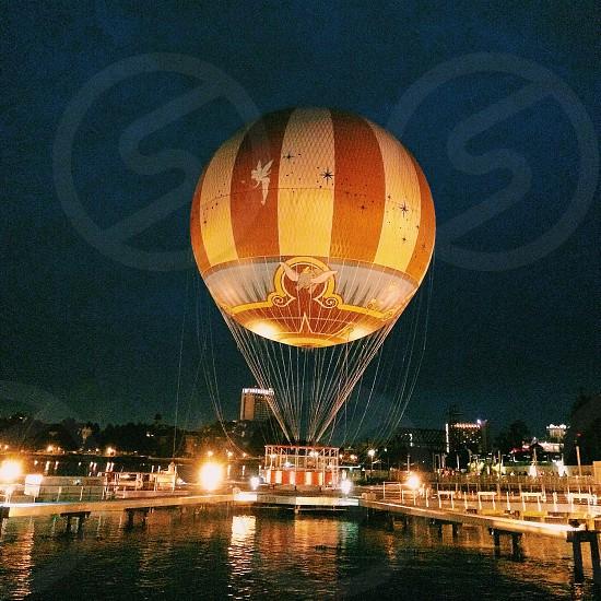 orange white striped tinker bell hot air balloon photo