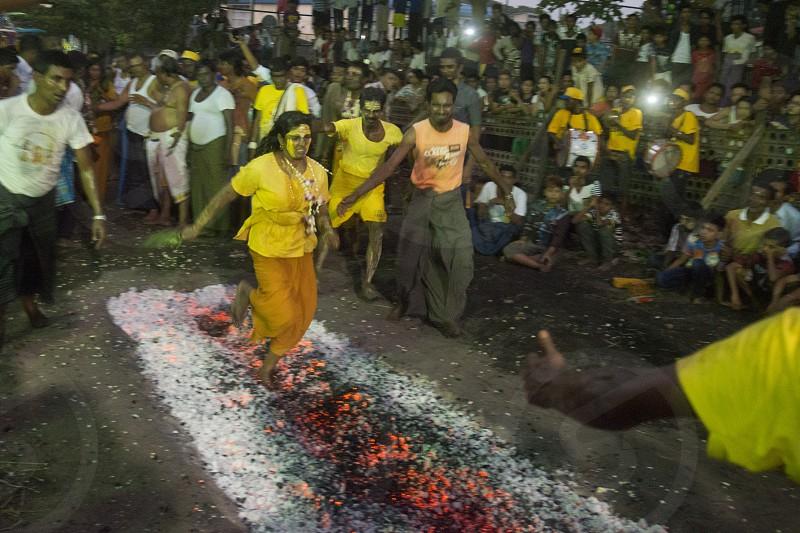 a indian style Fire Walk festival in the City of Yangon in Myanmar in Southeastasia. photo