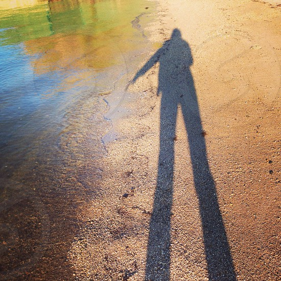 person standing on sand beside body of water photo