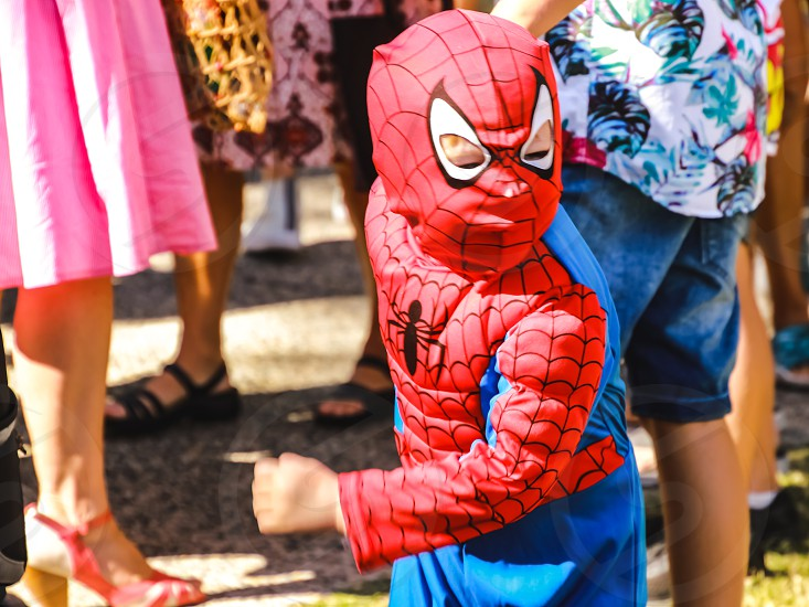 little boy wearing a Spiderman costume festival halloween superheroes and factional characters  photo