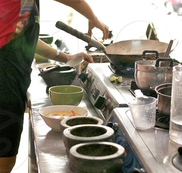 silver fry pan photo