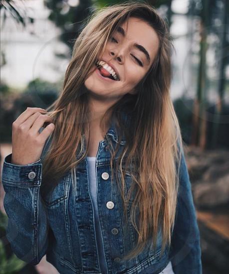 Girl smile happy laugh summer summertime spring springtime trees lean jacket love photo