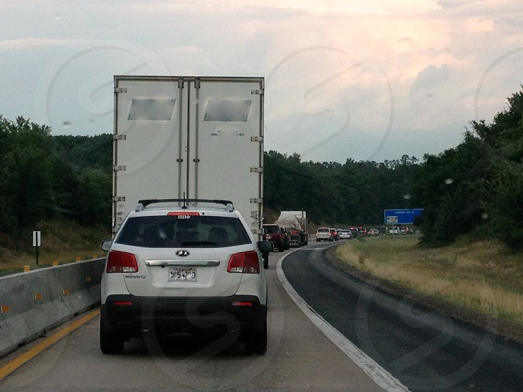 Traffic backed up in construction zone on interstate photo