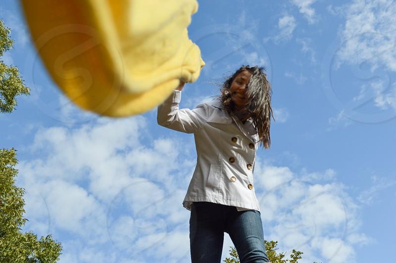Yellow scarf fun on a nice fall day in Texas photo