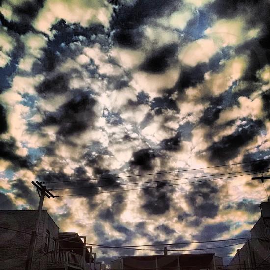 blue sky clouds sunset photo