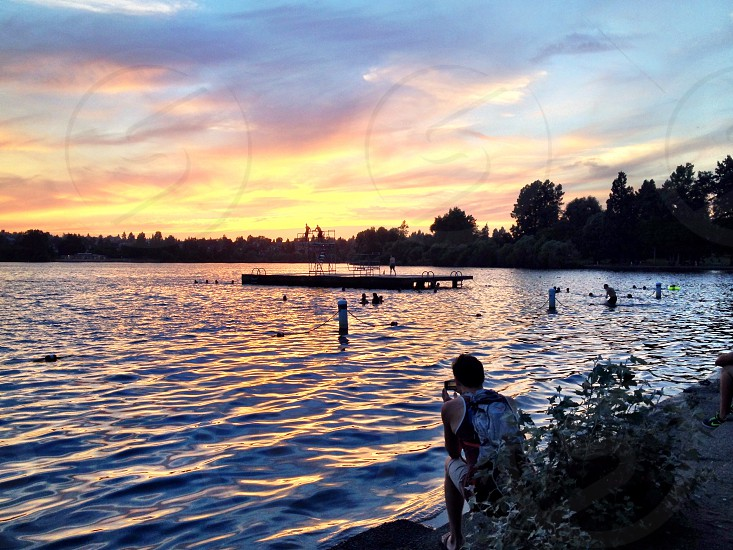 Greenlake sunset gazing photo
