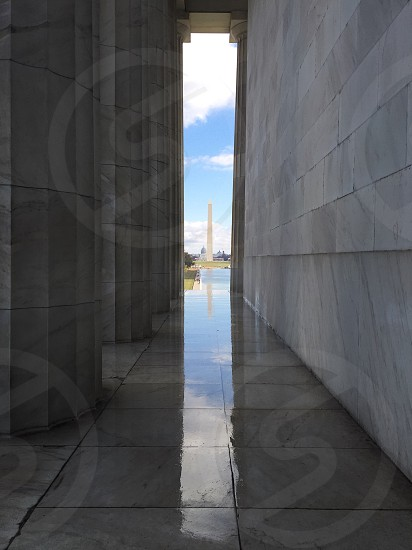 Washington memorial taken from Lincoln memorial photo