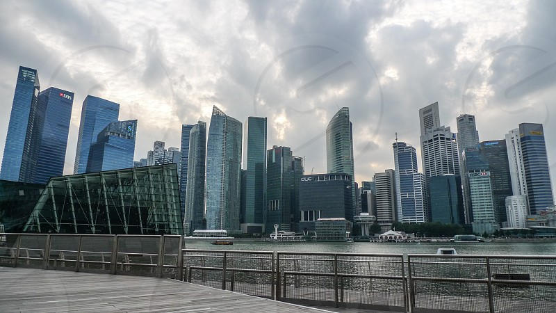 Downtown district in Singapore under the cloudy sky photo
