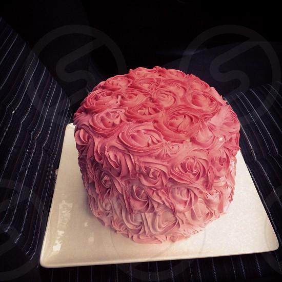 Ombré pink rose iced birthday cake photo