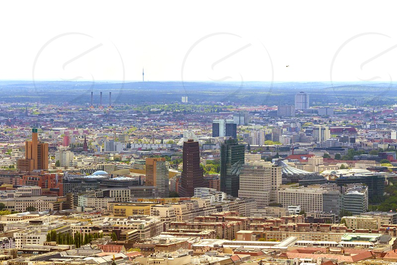 Aerial view of Berlin skyline with colorful buildings. photo