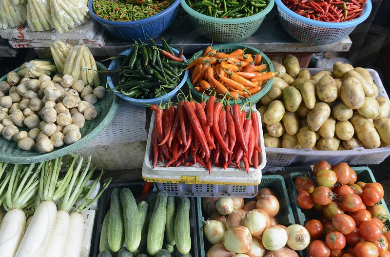 fresh fegetable at a market in the city of Bangkok in Thailand in Southeastasia. photo