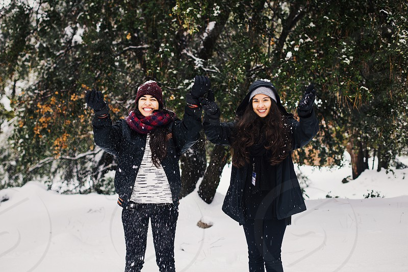 Snow Travel Winter Snow Storm Road Mountains Road Trip Adventure Camp Trees snowy trees Girls Throwing Snow Snowing camp retreat photo