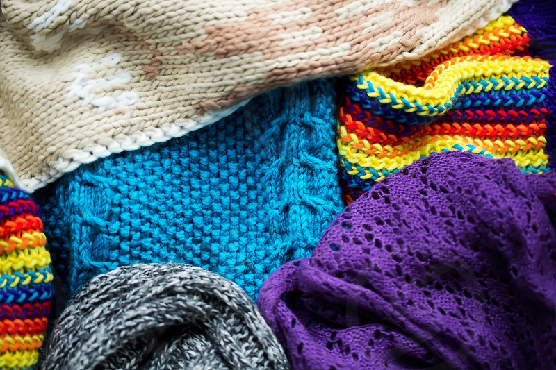 Complementary color knitting sweet warm  photo