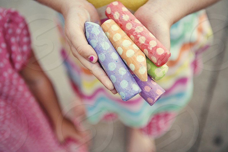 colorful chalk kids creative fun imagination  photo