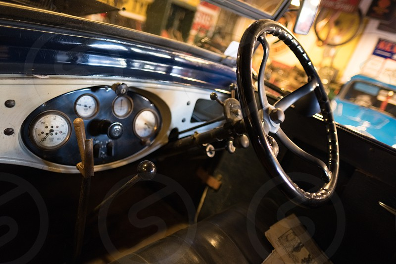 Cockpit of an Old Car in the Motor Museum at Bourton-on-the-Water photo