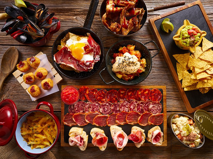 Tapas from Spain varied mix of Mediterranean food recipes photo