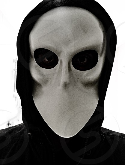 Scary mask Halloween costume photo