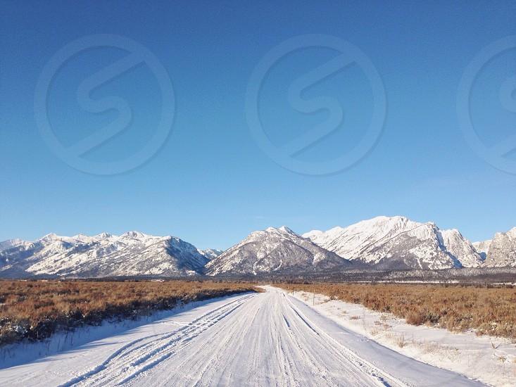 snow road to the mountains photo