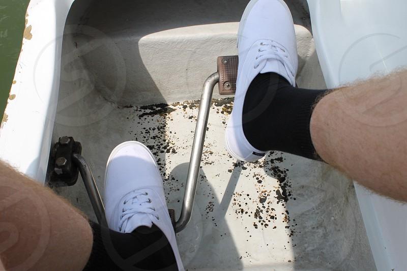 White shoes Black socks. photo