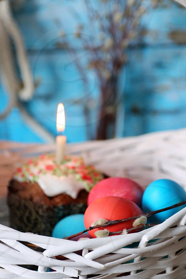 Easter eggs willow color flame food religion  photo