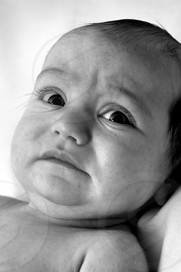 black white photo sad baby  photo
