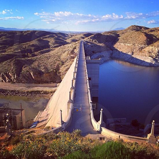 bridge over reservoir. dam photo