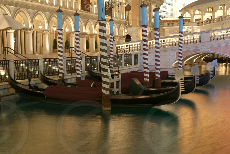 gondolas in the water photo