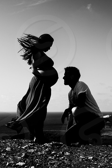 Pregnat couple black and white contrast  photo