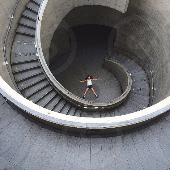 grey curving staircase photo
