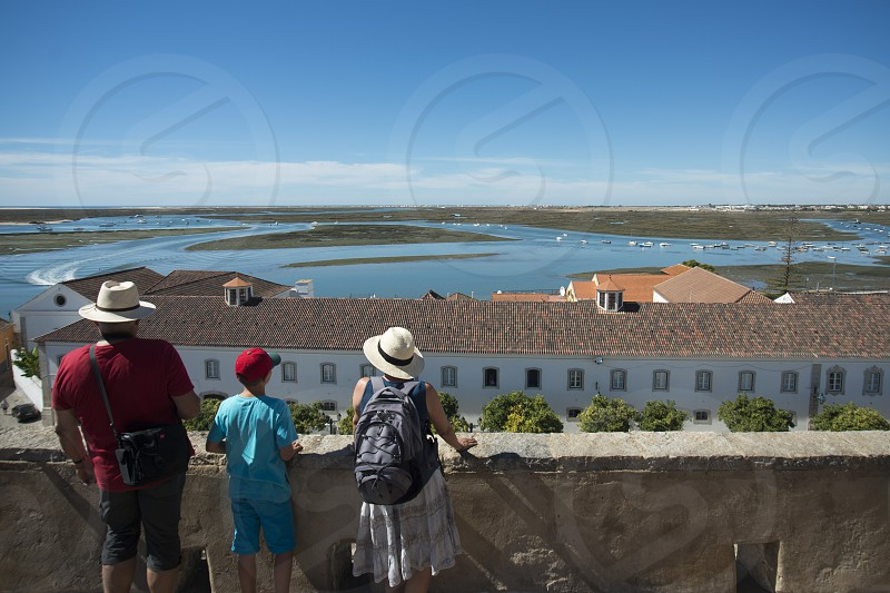 the view to the Ria Formosa Landscape in the city centre at the Lago de Se in the old town of Faro at the east Algarve in the south of Portugal in Europe. photo
