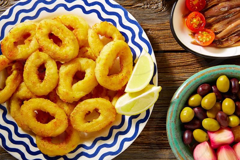 Tapas spanish seafood  fried calamari spain photo