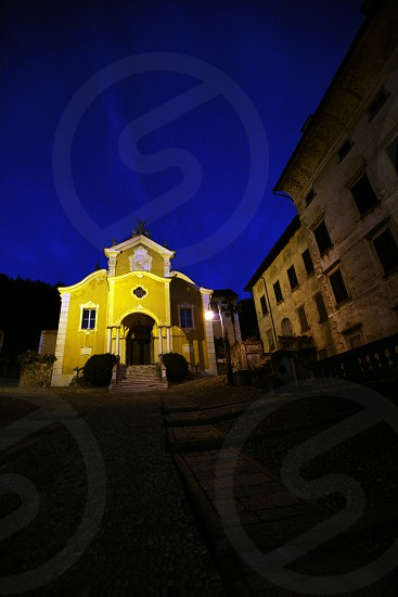 The churche in the Fishingvillage of Orta on the Lake Orta in the Lombardia  in north Italy.  photo
