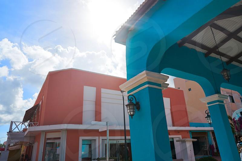 Cozumel island houses Plaza Punta Langosta in Mexico Mayan riviera photo