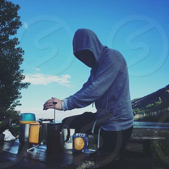 Novo coffee camping morning Arapaho Bay Colorado. photo