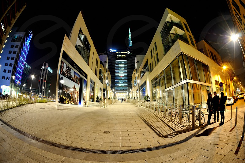 Milan Italy  by night Porta Nuova district fisheye view photo