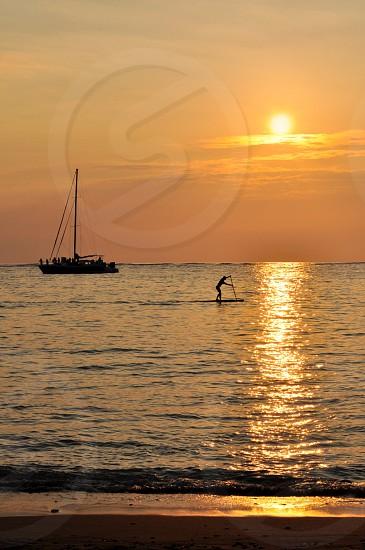 Reflection paddle boarding sunset cruise The Big Island Hawaii photo