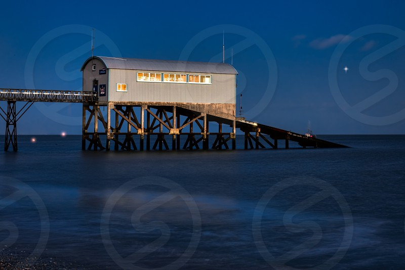 Selsey Bill Lifeboat Station at dusk photo