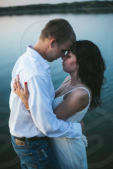 Young couple about to kiss.  photo