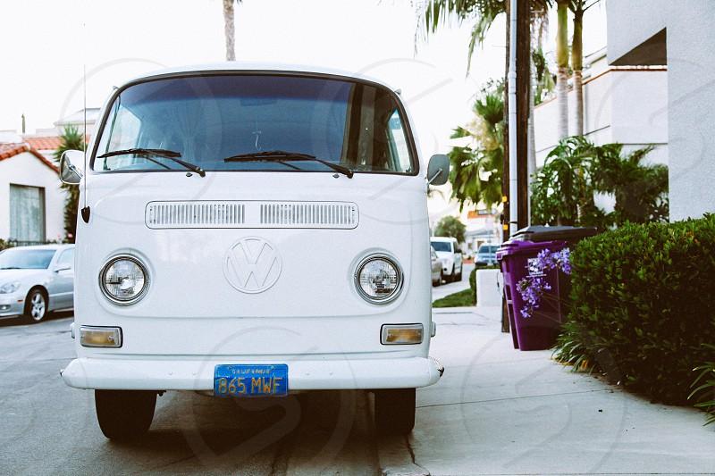 White Volkswagen hippie van in Venice Beach California. photo