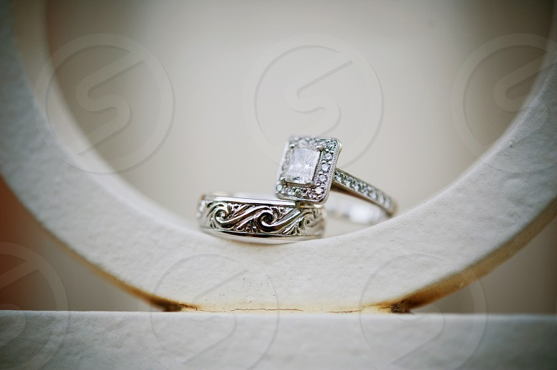 A set of beautifully unique wedding rings photo