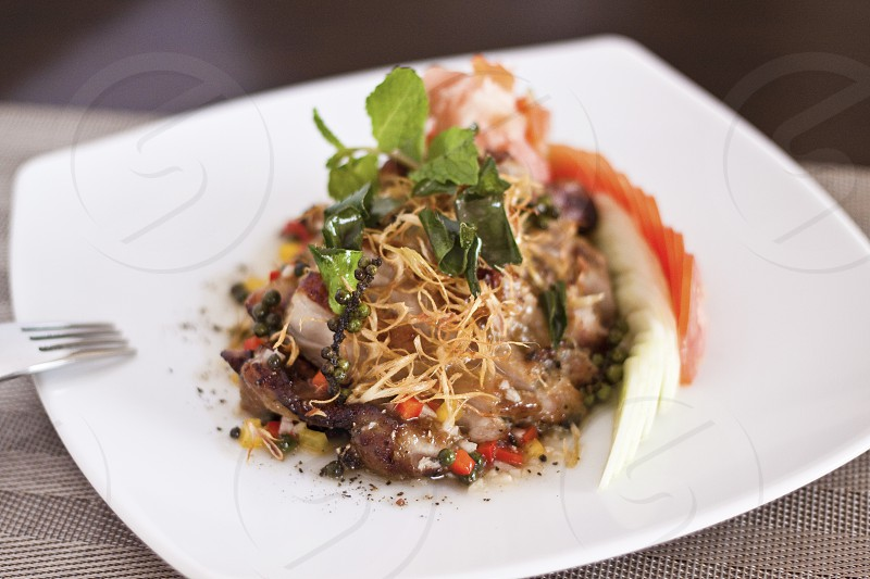 Roasted duck with Thai herbs and lemon grass photo