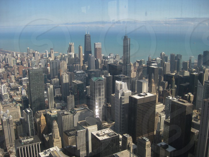 Chicago skyline as seen thru glass at Willis Tower  Lake Michigan photo